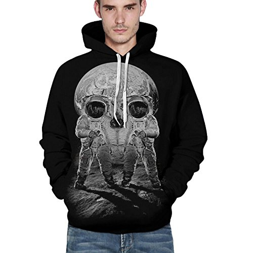 Plus Size Halloween Puppe Kostüme (EARS - Unisex Casual Schädel Hoodies Print Pullover (S/M,)