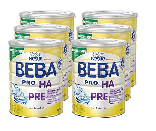 Nestlé BEBA Pro Ha Pre Babymilch, 6er Pack (6 x 800 g), zum Zu füttern für Säuglinge, von Geburt an, wiederverschließbar, mit praktischer Messlöffelablage, 800 g Dose