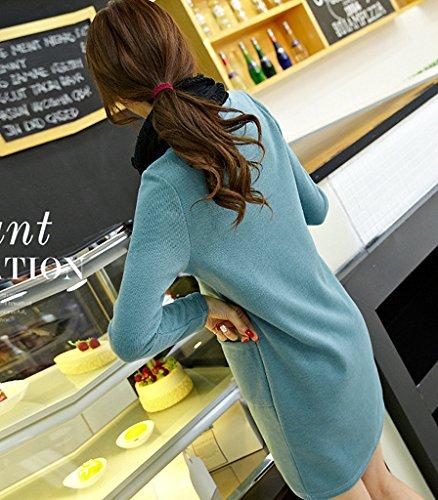 Minikleid Blusenkleid Shirtkleider Tunika Lässig Langärmlig Rundhals Lockere Vordertaschen Normallacks Große Größen Herbst Winter Grün