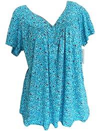 ALIKEEY Mujeres Más Tamaño Mangas Cortas V-Cuello Impresión Blusa Suéter Tops Camisa Summer Sweaters