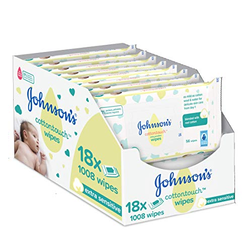 JOHNSON'S Cottontouch Extra Sensitive Wipes 1008 ct (56x18) - Blended with Real Cotton - pH Balanced for Delicate Skin