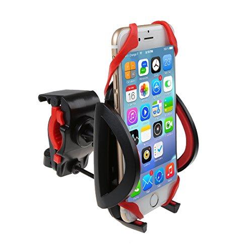 IDEAPRO Bike Mount Fahrrad Lenker-Halter, 360 Grad drehbaren Universal Android Smartphone GPS MP3 MP4 Player Cradle Clamp Fahrrad verstellbare Halterung mit Silikon-Armband für das iPhone 6 s 6 Plus Samsung S7 Kante (S2 rot)