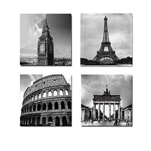MOXO Grau Landmark Big Ben Leinwand Art Wand Building Bilder Eiffelturm Big Ben Brandenburger Tor der römische Charm Colosseum Leinwand modernen Malerei für Wohnzimmer Schlafzimmer Home Dekoration