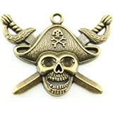 10pcs 45×34mm Pirate Skull with Sword Charms Antique Bronze Tone Pendant A10028
