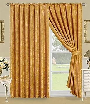Faith Vorhang Ornament Barock Gold Gardinen Mit Kruselband 2 Vorhnge 167x183cm BxH Gardine Fr Wohnzimmer Schlafzimmer 2er Set Amazonde Kche
