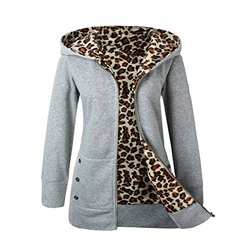 Trada Damen Wintermantel, 1 STÜCK Frauen Plus SAMT Verdickt Kapuzenpullover Leopard Zipper Coat Strickjacke Outwear Hoodie Baumwolle Trenchcoat Mantel Winter Warm Coat (XL, Grau)