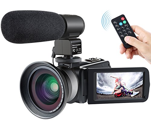 Besteker Kamera Camcorder( Full HD, 16x digitaler Zoom, Bildstabilisator, WiFi, Anti-Shake, Gesichtserkennung, Nachtsichtfunktion, Externem MikrofonLautsprecher, LED-Licht)schwarz