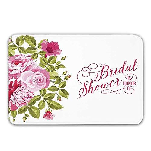 Kinhevao Bridal Shower Dekorationen rutschfeste Gummi Eingang Teppich, Shabby Chic Blumen Rosen Knospen und Blätter Art Fußmatte für die Haustür (Shower Chic Bridal Shabby)