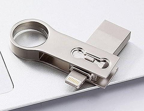 3en 1OTG USB Flash Drive Pen Drive Lightning pour iPhone/iPad/téléphones Android USB 3.0Pendrive Memory Stick 256 Go Silver