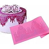 JoyGlobal Silicone Cake Lace Edible Pattern Fondant Mat Cake Lace Embossed Lace Mat, Pink