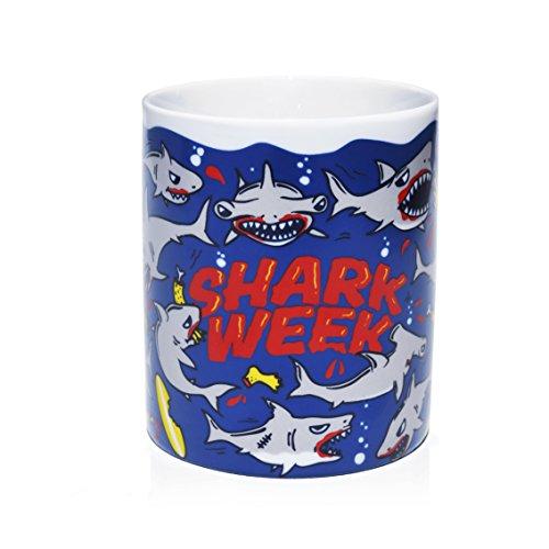 Tasse mug petit-déjeuner de porcelaine blanche 30 cl. Modèle Requin
