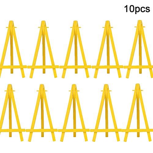 Mini-Kunststoff-Staffelei für Künstler, dreieckig, Hochzeit, Tischnummern, Namenskarten, Ständer für Malerei, Dekoration, Hochzeit, Tischkartenständer, Gelb, 8 Stück