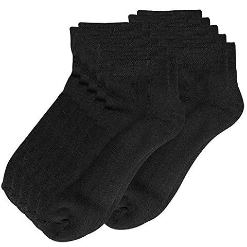Lower East Lot de 10paires de chaussettes sneaker avec semelle en éponge et bord-côte spécial confort, Noir,