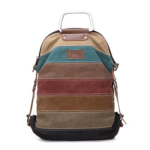 Defeng borsa tote tela donna ragazza multicolore borsetta multifunzione borse a mano sacchetto borse a spalla borse a tracolla borse a zainetto zaino borsette da polso arcobaleno strisce