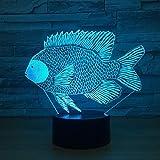 WangZJ 3d Illusion Lampe/bunte Note Nachtlicht/Schlafzimmer Dekoration/Nachtlicht Baby Kind Geschenke/Stimmung Lampe/Dace Fisch