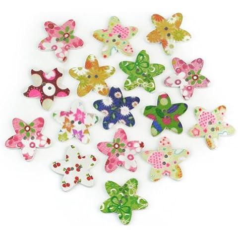 60X Madera Botones Forma de Estrella Afortunada con Patrones de Flores 22x22mm