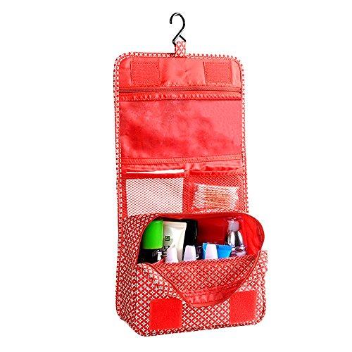 Forepin® Portatile Pieghevole Organizer Borsa Toilette Borsetta da Viaggio Pochette Make up Cosmetico Wash Bag Beauty Case con Gancio Zipper Pouch - Stile 1 Fiori Rossi