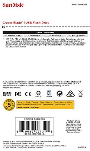 SanDisk Cruzer Blade 64GB Flash Drive USB 2.0