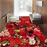 Pbldb Benutzerdefinierte Tapete WandbildFoto Hd Ästhetischen Rosenmeer 3D Wasserdichte Verschleißfesten Bodenfliesen-120X100Cm
