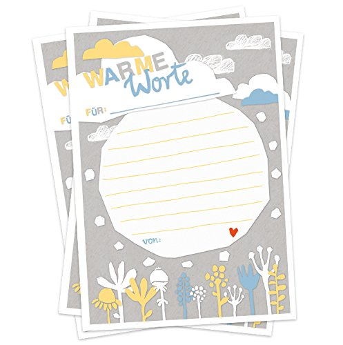 Gäste | 52 Postkarten für Glückwünsche | als Warme Worte Dusche zur Hochzeit, Taufe | Recyclingpapier Partyspiel für Erwachsene | Scherenschnitt Design in Weiß Grau Blau Gelb ()