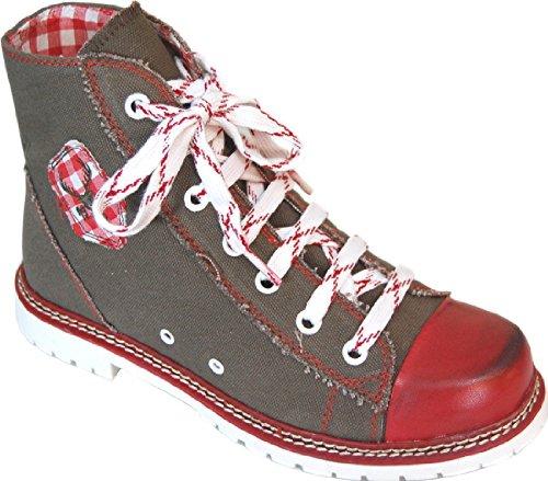 Spieth & Wensky Damen Trachten Canvas Sneaker, Boots JACKY braun/rot/rot