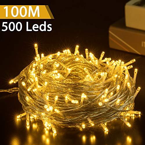GlobaLink LED Lichterkette Außen 100M 500Leds Weihnachtsbeleuchtung IP44 mit Stecker 8 Modi für innen und außen Hochzeit Party Garten Deko - Warmweiß -