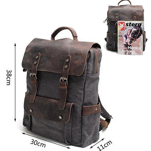 Neuleben Rucksack aus Canvas Leder Vintage Schulrucksack Laptoprucksack Herren Reiserucksack für Schule Outdoor Reise Grau