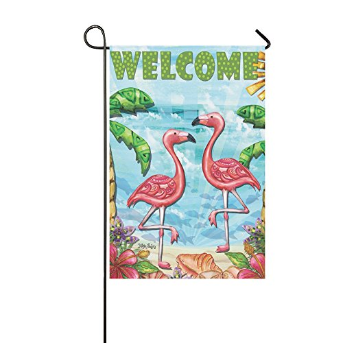 llyaon. IAO Dekorative Flaggen für Outdoors-Best für Party Yard und Home Outdoor Decor 30,5 x 45,7 cm Flamingo Beach Summer Garden Flag Welcome Tropical Palm Trees