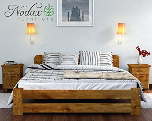 NEW King size solid wooden bed frame ONE with slats (OAK, 150 cm_x_200 cm)