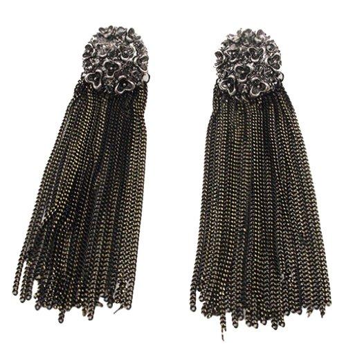 Yazilind pendientes de la joyería retro estilo coreano oscuro Metal largas borlas Diseño Flor Negro cuelga