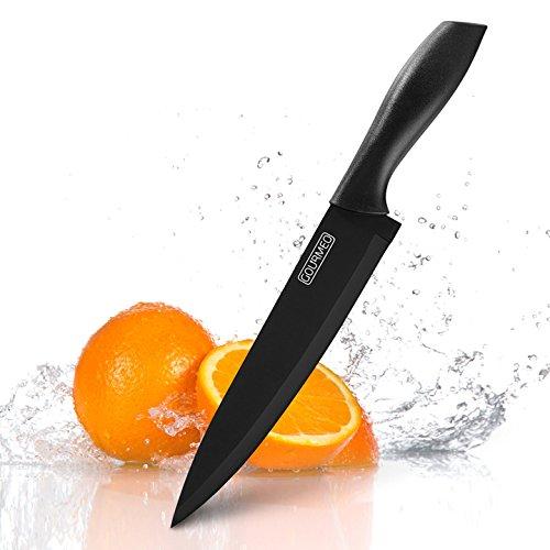 GOURMEO coltello da chef, nero, con lama in acciaio inox lunga 20,2 cm, anti ruggine e rivestita in ceramica | con 2 anni di garanzia di soddisfazione | coltello per cucina, affilato, tagliente