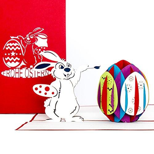 3D Pop Up Karte'Osterhase mit Osterei', Osterkarte mit Umschlag, 3D Karte zum Ostern - als Grußkarte, Geschenk & Gutschein