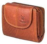 MATADOR Geldbörse Damen RFID Leder Portemonnaie Vintage Braun Portmonee Geldbeutel Klein verstaungsmöglichkeiten Frauen Reißverschluss
