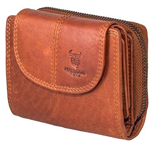 MATADOR Echt Leder Damen Frauen Geldbörse Portemonnaie Vintage Braun Portmonee RFID Schutz Geldbeutel Klein verstaungsmöglichkeiten