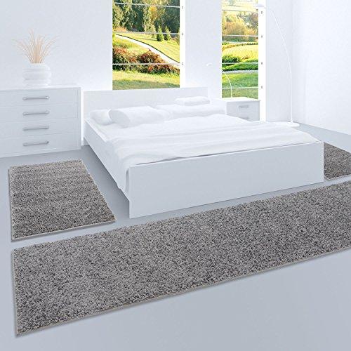 carpet city Shaggy Bettumrandung Hochflor-Teppiche in Dunkelgrau, Einfarbig für Schlafzimmer, 3-Teiliges Läufer-Set: 2X 70x140 cm und 1x 70x250 cm