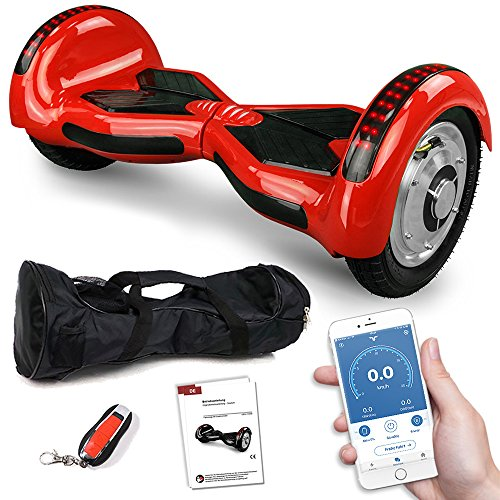 Balance Scooter 800 Watt Crossrover mit App Funktion, 10 Zoll Bereifung, Bluetooth Lautsprecher, Kinder Sicherheitsmodus, Elektro Self Balance E-Scooter GPX-03 SUV (rot)*