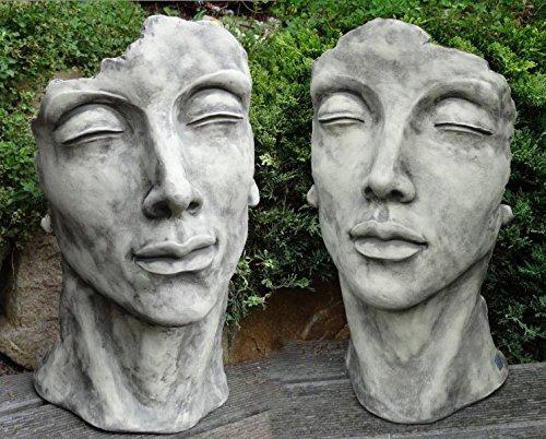 Skulptur Portrait Gesicht Gesichter Mann und Frau H53cm Steinguss Antik Grau Steinfigur Vidroflor Gartenskulptur + Original Pflegeanleitung von Steinfigurenwelt Giessen