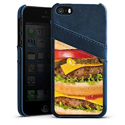 Apple iPhone 5s Housse Étui Protection Coque Hamburger hambourgeois Cheeseburger Fast Food Étui en cuir bleu marine