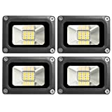4 Pcs 10W LED Flood Light Warm White (2800-3200K) IP65 Outdoors Security Wall Lamp 12V 800-900LM Außenstrahler für Korridor, Balkon, Pfad (4)