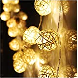 Sannysis Lus Decorativas led decoración de luces en forma de Bola de ratán (20 LED Beige)