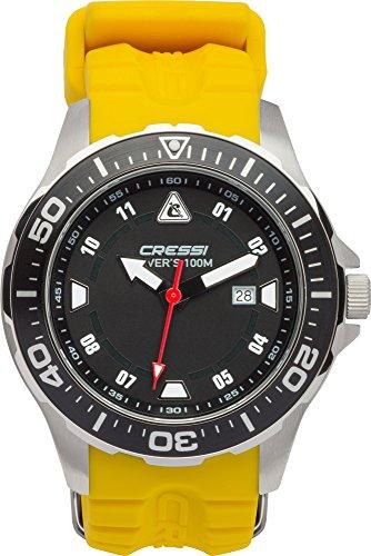 cressi manta, orologio professionale subacqueo 100 m/10 atm, silver/nero/giallo, taglia unica