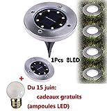 8 LED au sol alimenté solaire,Covermason Lampe solaire au sol lampe extérieure...