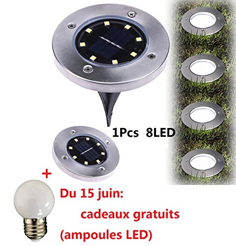 8 LED au sol alimenté solaire,Covermason Lampe solaire au sol lampe extérieure Etanche IP65 8LED solaire de chemin Projecteur de jardin