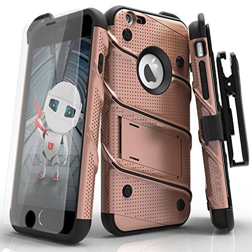 iPhone 6/6S 4.7en étui, Zizo Pièces avec housse [.33m Film de protection d'écran en verre trempé 9H] [inclus] Armor Coque de qualité militaire avec support clip Rose Gold/Black