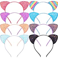 Beinou Glitter Cat Ears Headband 8 Pcs Kitty Headband for Girls and Women Sparkly Glitter Hair Metal Hoop Shiny Hairbands Hair Accessories for Daily Wearing and Party Decoration