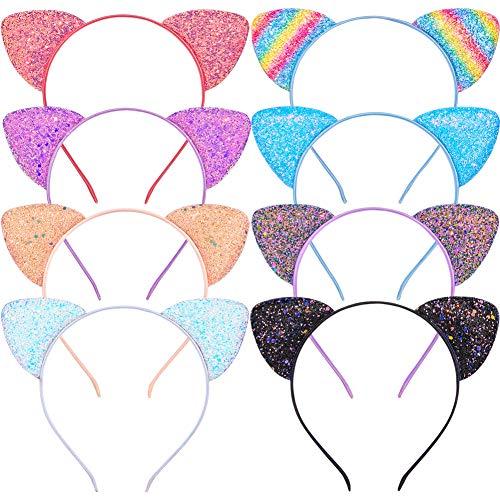 Beinou Katzenohren Stirnband 8 Stück Glitzer Katze Haar Hoops Sparkle Haarband Metall Kätzchen Haarreif Bling Haarschmuck für Mädchen Geburtstag Party Geschenk