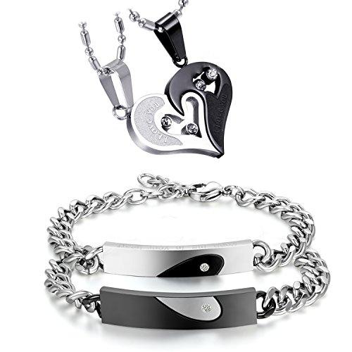 cupimatch joyas set de Pareja Puzzle colgante collar cadena de acero inoxidable Tanque tanque pulseras pulsera circonitas Partner pulsera pulsera de la amistad Mujer Hombre maduro pulsera, plata negro