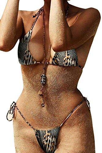 Sexy Leoparden - Tanga Bikini TragenDamen Hängen Hals Microkini Leopard M