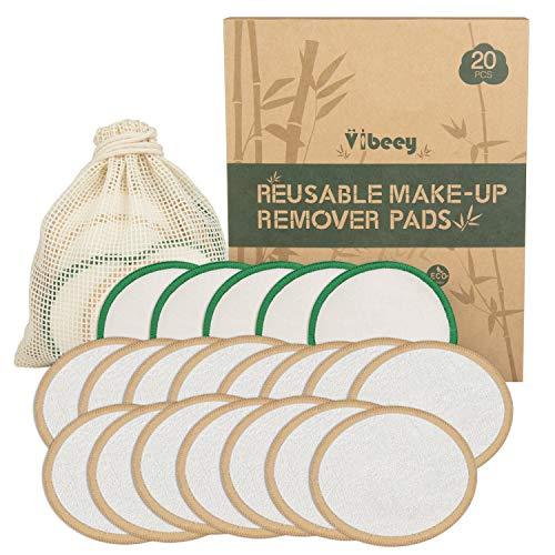 Waschbare Abschminkpads 20 Packungen, Vibeey 3 Lagen 8cm kosmetikpads waschbar Tonerpads mit Wäschesack, wattepads wiederverwendbar für Augen-Make-up Entfernen Sie Gesichtswischtuch