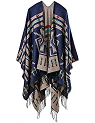 Geométricas de estilo de moda Nepal las mujeres espesados regalos ideales de manta bufanda abrigo Poncho chal cabo acogedor imitación cachemira para las mujeres de gran tamaño 150 * 130cm , d